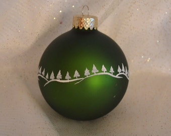 Green Hand painted Christmas Ball