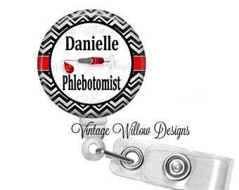 Personalized Phlebotomist Retractable ID Badge Reel