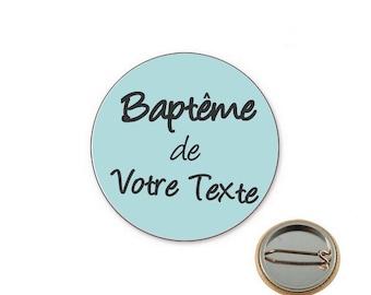 Baptism boy custom - button Badge 25 mm