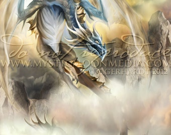 Elemental Dragons Collection.. AIR Dragon... Print... Fantasy Art...Air...Sky Dragon ... Elegant