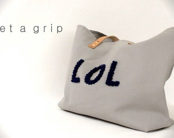"Canvas Tote...""LOL"" GRAY tote bag with PERSONALIZED leather label"