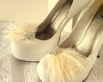 Wedding Shoe Clips, Feather Shoe Clips, Bridal Shoes Clips, Rhinestone Shoe Clips, Wedding Accessories, Bridal Clips for Wedding Shoes