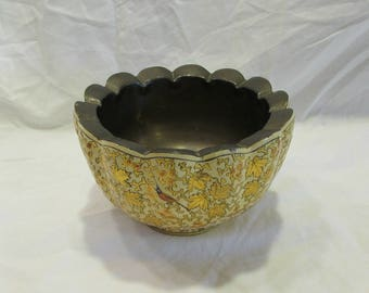 Kashmiri Bowl, Paper Mache and Brass, Hand Painted and Lacquered, Hand Made by M. Qasim & Bro., Srinagar Kashmir, 1940's or 1950's