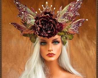 Iridescent White and Wine/Gold Fairy Queen Crown**FREE SHIPPING**Costume/Photography/Masquerade/Cosplay/Weddings/Halloween