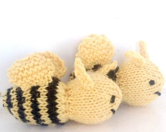 Bees - Bumble Bees - Bee Toy- Set of Two - Waldorf Toy, Stuffed Animal  Eco Kids Toy - HandKnit - Natural Childrens Toy