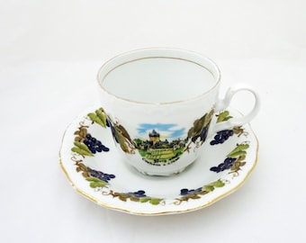Vintage Kunst-Palette Regnitzlosau K  T Bavaria Tea Cup and Sauser, Grape Design, UK Seller