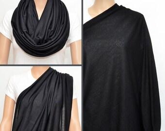 Black Infinity Scarf / Nursing cover scarf