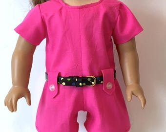 18 Inch Doll Clothes Pink Romper With 4 Tabs and Matching Shoes and Belt With Mulit Dots Fits Like American Girl Doll Clothes