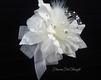 Wedding Corsage with Pearls and Feathers, White flower wrist, Winter wedding, Prom