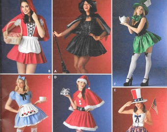 Adult Costumes & Hats by Simplicity (#4015). Misses Cosplay Costumes Sizes 10, 12, 14, 16. Six Different Holiday and Character Designs.