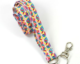 COLORFUL Fabric lanyard, Colorful stars lanyard, Stars badge holder, Colorful lanyard, Colorful badge holder, Fabric lanyard