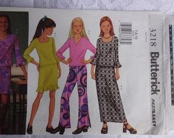 Butterick 3218 Sewing Pattern Girls' Top, Skirt & Pants  Size 7, 8, 10