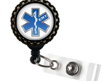 EMT LOVE - Blue - Black Retractable Badge Reel ID Holder