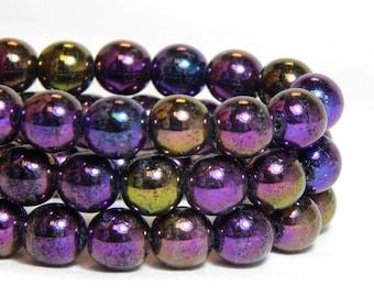 8mm Iris Purple Beads, Purple Beads, Iridescent Beads, Iris Purple Beads, 8mm Purple AB Beads, Purple Round Beads, 8mm Purple Beads, T-20A