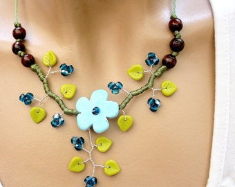 Blue and Green Flower necklace ceramic