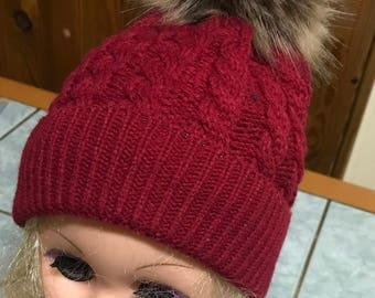 Beanie Baby 0/24 months - red dark fur Pompom