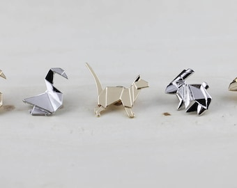 Swan-Rabbit-Dog Brooch Geometric-Origami Animal Brooch -Geometric Pin-Origami -Jewelty-Paper- Anniversary- Gift-Rhino Jewellery-Paper
