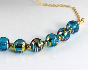 Blue Swirl Glass Bead Necklace