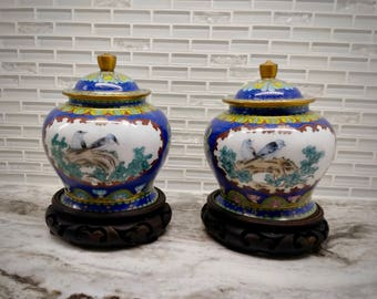 Vintage Chinese Cloisonne ginger jars with lid and stands, enameled urns, vase with lid, Cloisonne urn, Cloisonne ginger jar