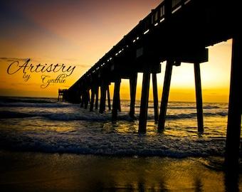 Beach Photography, Pier, Panama City Beach, Florida, Sunset photo, Landscape, Ocean photography, Coastal Wall Art, Nautical