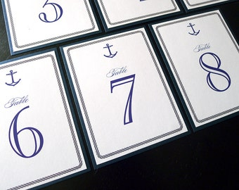 Anchors Aweigh Nautical Themed Layered Table Number Cards