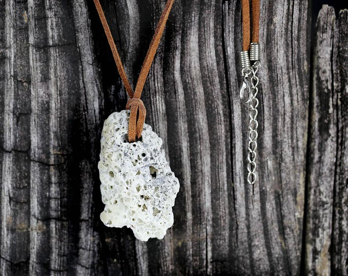 Boho Jewelry Coral Pendant Leather String Necklace Gift by VERO for SeaStyle