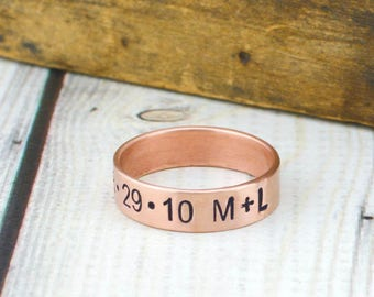 Personalized Copper Ring - Custom Name Ring - Personalized Mens Ring - Gift for Him - Hand Stamped Name Ring - Personalized Ring for Women