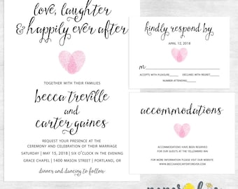 Happily ever after invitations / love laughter and happily ever after wedding invitation / printable invitations / printed invites