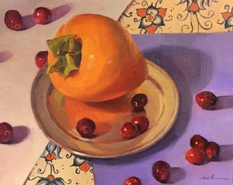 """Art painting still life fruit """"Pointed Persimmon"""" original oil by Sarah Sedwick 8x10"""""""