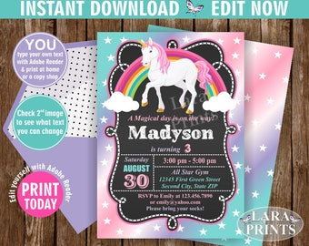 INSTANT DOWNLOAD / Birthday Invitation / Unicorn / Pink Girl Invite Pink Invites Magical Day Rainbow Purple Aqua Teal Chalkboard BDU1