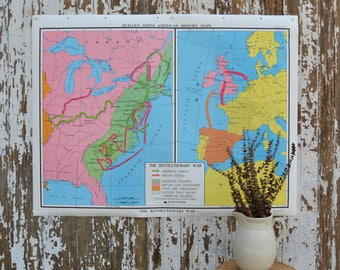 Vintage School Map - Large Nystrom World History War Poster US Pulldown Canvas