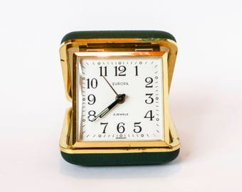 Vintage traveling alarm clock - Cubic style golden brass frame foldable green travelling box - German design 50s 60s EUROPA 2 Jewels travel
