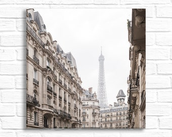 Paris Photograph on Canvas - Eiffel Tower Gallery Wrapped Canvas, Rue Edmond Valentin, Urban French Decor, Large Wall Art