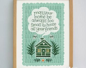 Log Cabin Print | Moving Gift | Leaving Gift | Wedding Gift | New House Gift | Housewarming Gift | Irish Saying Print | New Home Gift