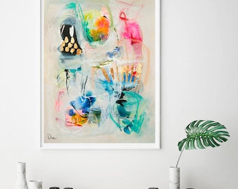 Colorful modern acrylic painting print, abstract giclee print, dorm wall art, beige and gold art