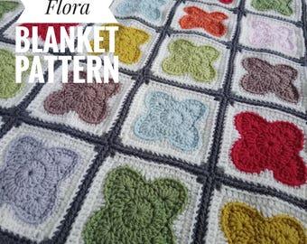 Libby Flora Blanket Pattern.Crochet Blanket Pattern.Colourful Pattern.Orla Kiely Inspired.Lapghan.Gift Ideas.For her.DK Yarn.