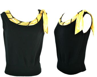 1940s/1950s Black Sleeveless Knit Blouse with Gold Lame Scarf by Sefri