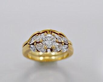 Estate Diamond Engagement Ring Set .60ct. Diamond & 18K Gold - J35677