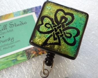 Shamrock - dichroic badge reel or pendant