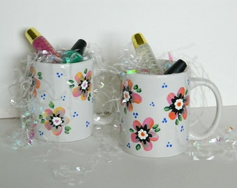 Colorful Flower Coffee Tea Mug Cup in Pink Orange Silver Accents Hand Painted