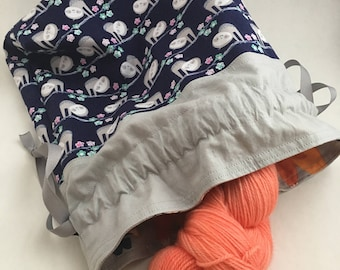 Design your own knitting project bag, custom made-to-order drawstring bag, pouch