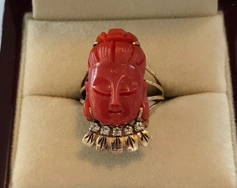 Vintage 18k Yellow Gold and Red Mediterranean Coral Buddha Head Ring Size 6
