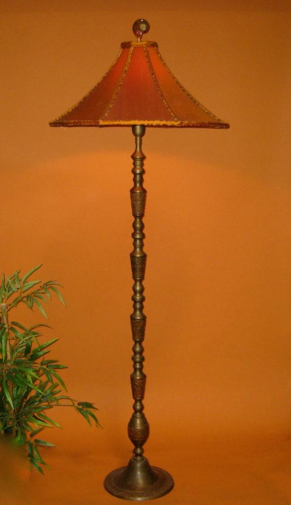 Sold vintage asian floor lamp handmade lamp shade orange aloadofball Image collections