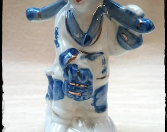 China Figurine,Porcelain figurine in white and blue,Vintage Figurine,