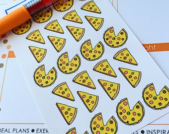 28 Pizza Planner Stickers- Pizza Night or Pizza Party Reminder Stickers- perfect in your Erin Condren planner, wall calendar or scrapbook