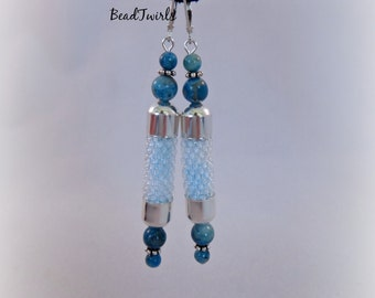Beaded earrings - Light blue Bead dangle earrings - Crochet dangle earrings with Blue Lace Agate beads