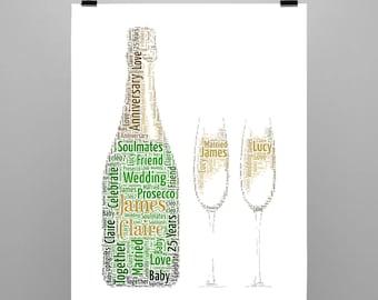 Personalised Gift Printable Word Art Prosecco & Glass's Wedding, Birthday, Anniversary,Best Friend, Love, Celebration