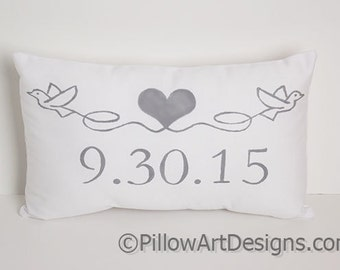 Personalized Pillow with Date Engagement Wedding Anniversary Doves and Heart White Cotton