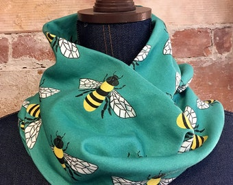 Bee Print Infinity Scarf on Organic Cotton