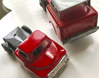 Red Truck Friction Tin Toy Lot of 2 Japan 1950s Vintage+++